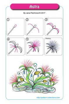 Zentangle Astra by Jana Pechrová Tangle Doodle, Tangle Art, Zen Doodle, Doodle Art, Zentangle Drawings, Doodles Zentangles, Doodle Drawings, Flower Drawings, Drawing Flowers