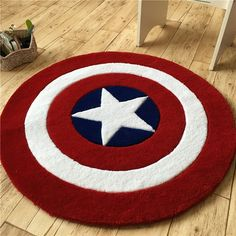 Diameter Acrylic Doormat Children Bedroom Rugs And Carpets Thick Rotate Chair Area Rug Cloakroom Floor Mat Bathroom Carpet Living Room Carpet, Rugs In Living Room, Captain America Star, Bedroom Mats, Outdoor Tables And Chairs, Shield Design, Chair Pads, Bath Rugs, Floor Rugs