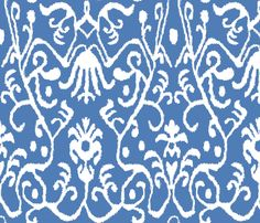 Gem Blue Ikat Floral fabric by sparrowsong on Spoonflower - custom fabric- chairs?