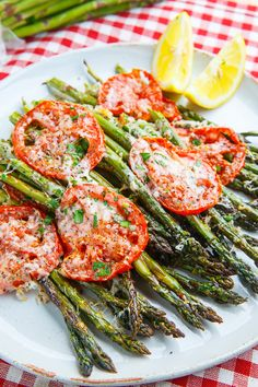 Tuscan Roast Asparagus Recipe : Asparagus and tomatoes seasoned with salt and pepper and roasted to perfection with a topping of melted parmesan cheese. Vegetable Side Dishes, Vegetable Recipes, Vegetarian Recipes, Cooking Recipes, Healthy Recipes, Veggie Dishes, Food Dishes, Roast Asparagus, Best Asparagus Recipe