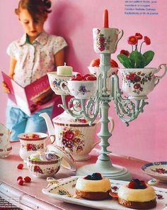 Tea Cups/Candle holder could be use as a veggie tray, etc..... cute  http://alkemie.blogspot.com/2009/01/tea-time-tea-cups-tea-pots-table-spread.html