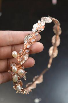 Rose gold Bridal Crystal Headpiece leaf by thefabbridaljewelry