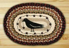 Primitive Home Decor Crow Stars and Berries Oval Rug 20x 30 Country | eBay