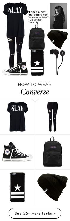 """Slay"" by kellyaguilera on Polyvore featuring Miss Selfridge, Boohoo, JanSport, Skullcandy, Vans, Givenchy, Converse, black, Dark and emo"
