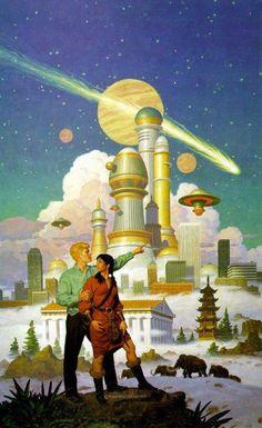 Retro-Futuristic, Science Fiction, Tim Hildebrandt - City of the Future. Seth and I want to do a living room in a retro futurist style!