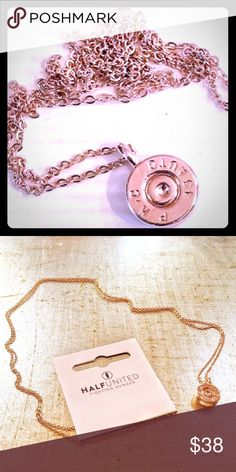 "Sale Sunday Bullet Necklace: Rose Gold! ❤️Lowest price❤️ BRAND NEW❤️ This simply elegant and dainty bullet top necklace will compliment any outfit.  A bright & beautiful ROSE GOLD PLATED 30"" CHAIN & PENDANT Half United has used recycled bullets, typically a negative symbol and changed them into something good and beautiful!  Feel good knowing that every Half United pendant purchased will provide 7 meals for a child in need of food.  As featured on the Nordstrom fashion blog…"