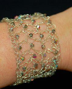 Silver+Wire+Crochet+Cuff+Bracelet+w/Purple+by+parkerssparkles,+$45.00