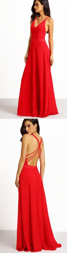 Be red carpet ready with this spaghetti strap elegance maxi dress in red. The front is crafted in a classic deep v-cut neckline, while the back finishes to a sexy crisscross strappy open back.
