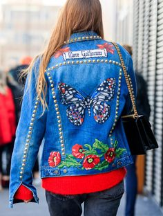 La veste en jean brodée - Tendance été 2017. Miriam Lasserre.