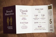 simple wedding program with nice, clean typography