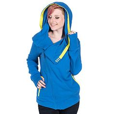 Features: 310 gram, cotton polyester French Terry Hoodie Cross-body zipper closure with custom Fallout logo zipper pull Blue oversized hood that turns into cowl neck warmer with yellow ribbon trim and 111 deta Fallout Logo, Fallout Vault, Fallout Merch, Vault 111, Cool Outfits, Fashion Outfits, Geek Fashion, Sweater Hoodie, French Terry