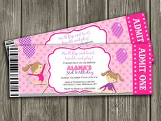 Gymnastics Ticket Birthday Invitation - FREE thank you card. $15.00, via Etsy.