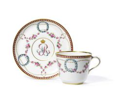 KPM Pearl cup and saucer Prussian Royal Provenance. Dating to 1860. Estimate 300-500 reserve 300.