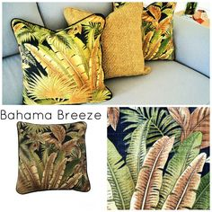 Bahama Breeze - Outdoor cushions teamed with new Tampico Rattan. Bahama Breeze, Outdoor Cushions, Rattan, Indoor Outdoor, Pillows, Design, Wicker, Outdoor Swing Cushions