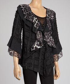 Look what I found on #zulily! Black Leopard Ruffle Silk-Blend Cardigan by Pretty Angel #zulilyfinds