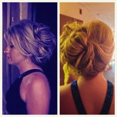 A loose off set updo/bun loosely around the face brings a elegant look to this style.