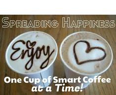 This coffee and hot chocolate help your body naturally release happy hormones! Share the Happiness! Happy Coffee, Good Morning Coffee, Coffee Break, Morning Breakfast, Coffee Drinks, Coffee Cups, Coffee Pictures, Coffee Corner, Chocolate Coffee