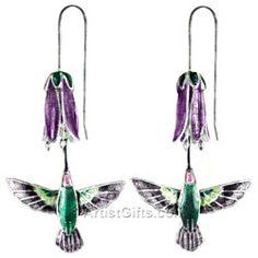 Hovering Hummingbird Earrings in Sterling Silver &  Cloisonne Enamel with Purple flower.