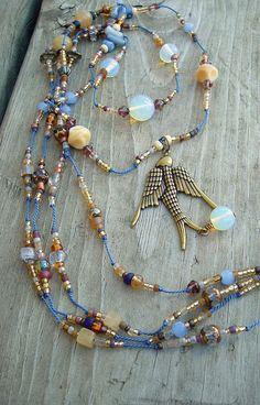 Boho Multi Strand Necklace Healing Stone Necklace by BohoStyleMe