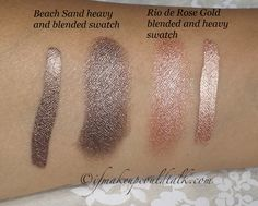 Josie Maran Coconut Watercolor Eyeshadow Beach Sand and Rio de Rose Gold swatches.