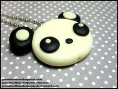 Glowing Panda Necklace by grandmathunderpants on Etsy