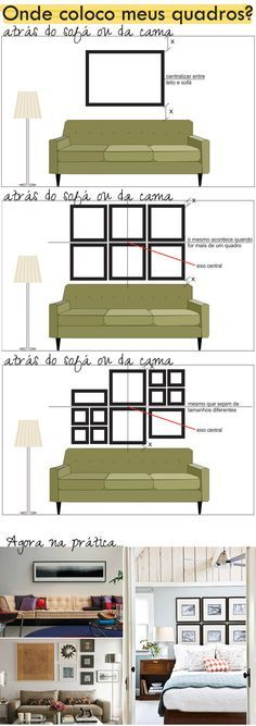 Posição ideal para quadros. By Casa de Valentina.