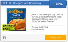 FREE Ortega Taco Seasoning courtesy of SavingStar