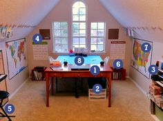 Homeschool Classroom Makeover - Check out the clothespins on the wall...I mean, ceiling!