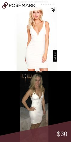 Perfect Pick White Bodycon Dress This dress hugs your figure as medium-weight knit dress forms a deep V-neckline (with hidden V bar), princess-seamed bodice, and a fitted mini skirt for a simply sexy look. Hidden back zipper. Lulu's Dresses Mini