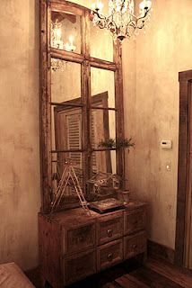 Could use old windows from Hunter's rooms and put in mirrors to get this effect and hang over wash stand dining room