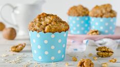Wake up to a tasty and nutritious breakfast of Banana Nut Oatmeal Muffins. Filled with fresh banana and walnuts, it's the perfect breakfast on the go. Banana Oatmeal Muffins, Healthy Banana Muffins, Banana Bread, Oatmeal Cups, Cinnamon Muffins, Blueberry Pancakes, Banana Nut, Protein Milkshake, Milkshake Bar