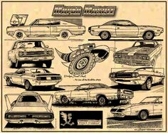 "Mopar Muscle Car Art by K. Scott Teeters  A montage of mighty, mighty muscle machine Mopars! WE have LOTS of Mopar muscle car prints. Each print measures 11"" x 17"" and is made on tan parchment paper, signed & numbered by the artist.   For more info, go here... http://www.precision-illustration.com/Prints_Muscle_Mopar-Plymouth.html"