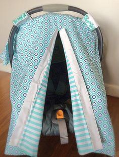 Aqua Car Seat Cover Car Seat Canopy Infant by madebySINGERandZEUS