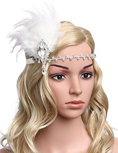 BABEYOND Womens Vintage Themed Party Prom Flapper Headbands 1920s Feather Headpiece Crystal Headband with Feather White ** You can find more details by visiting the image link.(This is an Amazon affiliate link)