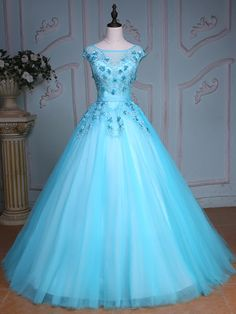 May 2017 - Pretty Bateau Ball Gown Cap Sleeves Appliques Beading Crystal Sequins Court Train Quinceanera Dress Cheap Quinceanera Dresses, Cute Prom Dresses, Dresses For Teens, Elegant Dresses, Pretty Dresses, Formal Dresses, Formal Prom, Quinceanera Party, Bridal Dresses