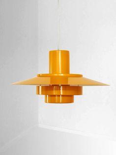 "CEILING LAMP Andreas Hansen; Enameled Metal ""Falcon"" Ceiling Lamp 1969"