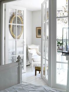 Design Chic, beautiful doors going thru to a lovely room, greige design