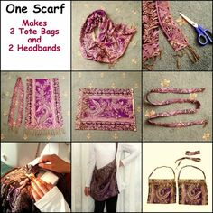 One Scarf: Makes 2 Tote Bags and 2 Headbands DIY
