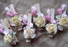 Shabby Chic custom decorative Clothes Pins Set of 10 pegs paper flowers. $22.50, via Etsy.