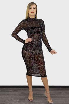 dd5a407d54 Inez Long Sleeve Rhinestone Midi Dress