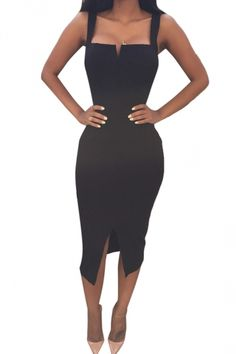 Black Ladies Sexy Slit Bandage Clubwear Dress - PINK QUEEN