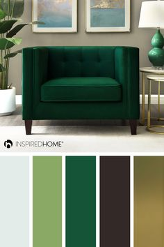 The green and gold palette always has great balance! with more color ideas to decorate your house at sh Color Schemes Colour Palettes, Gold Color Scheme, Green Colour Palette, Living Room Color Schemes, Living Room Colors, Bedroom Colors, Gold Palette, Bedroom Decor, Apartment Color Schemes