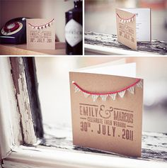 Home made wedding invites using rubber stamp and vintage style card and bunting.