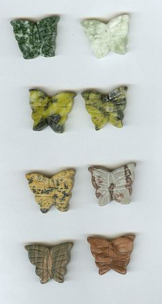 REDUCED  Set 8  19x23mm Butterfly Mixed Gemstone by RockNBeads, $5.25