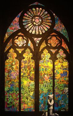 """The Church of Banksy. """"MOCA's Art in the Streets — the very first major US museum exhibition of graffiti and street art — but Banksy's stunning stained glass window is the piece that we felt the most. Art Day, Banksy, Art Photography, Photo Art, Public Art, Amazing Art, Best Street Art, Cool Art, Graffiti Art"""