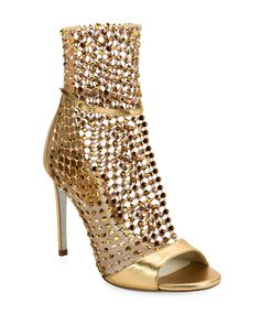 Metallic Crystal Mesh Caged Sandals by Rene Caovilla at Neiman Marcus Stilettos, Stiletto Heels, High Heels, Rene Caovilla, Caged Sandals, Strap Sandals, Manolo Blahnik Heels, Cool Gifts For Women, Designer Boots