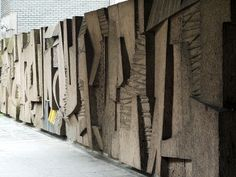 Monumental concrete mural and dividing wall by Charles Anderson at Charing Cross, glasgow. Concrete Sculpture, Modern Sculpture, Sculpture Clay, Abstract Sculpture, Abstract Art, Brutalist Furniture, Art Cube, Concrete Casting, Buddha Wall Art
