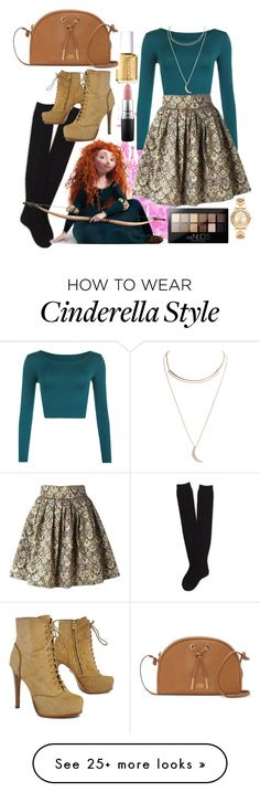 """Modernised Princess Merida"" by lovelyemilyk on Polyvore featuring Disney, Aéropostale, WearAll, Merida, Leo, Michael Kors, Essie, Wet Seal, MAC Cosmetics and Maybelline"