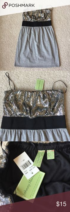 BNWT strapless dress BNWT sequin strapless dress by Johnny Martin is perfect for summer. It is a size large and has never been worn. It has sequin on the top and a gray bottom. They is a small mark on the back of the dress and is shown in the pictures. Johnny Martin Dresses Strapless