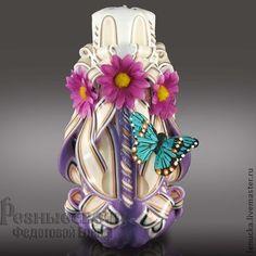 Резная свеча ручной работы Хризантемка - резные свечи,свечи резные,свечи ручной работы